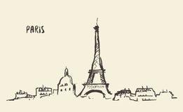 剪影艾菲尔铁塔巴黎,传染媒介例证 皇族释放例证