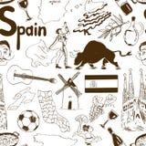 剪影西班牙无缝的样式 免版税库存图片
