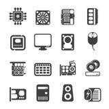 剪影计算机性能和设备象 免版税库存图片