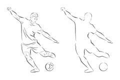 剪影足球运动员 库存图片