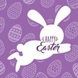剪影跳跃的兔子愉快的复活节彩蛋背景 皇族释放例证