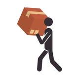 剪影运载箱子的图表人 库存例证