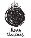 黑剪影问候圣诞节雪球 库存图片
