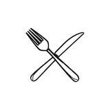 剪影集合利器刀子和叉子厨房元素 免版税库存图片