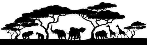 剪影非洲徒步旅行队动物风景场面 向量例证
