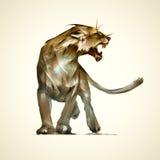 剪影食肉动物雌狮 库存例证