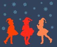 剪影,妇女,例证,人们,舞蹈,传染媒介,爱,秀丽,党,圣诞节,愉快,男孩,头发,美丽,抽象,红色 免版税库存图片