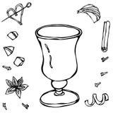剪影玻璃用浓咖啡 手拉的向量例证 库存图片