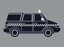 剪影taxi van car侧视图 免版税图库摄影