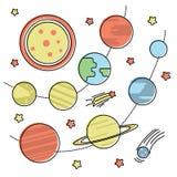 剪报地球重点水银路径太阳系金星 库存例证