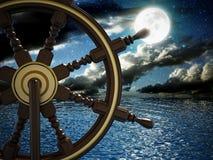剪报查出在路径船轮子白色 库存照片