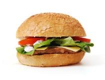 剪报汉堡包查出的路径蔬菜 免版税库存照片