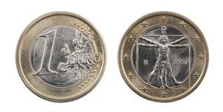 剪报硬币欧元一个路径 免版税库存照片