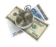 剪报货币路径时间 免版税图库摄影