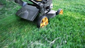 剪绿草的割草机在后院 股票录像