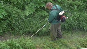 剪绿草的工作者在庭院里,使用手工汽油草坪整理者 股票录像