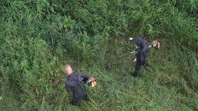 剪草的两名工作者在夏天庭院里,使用汽油草坪整理者 影视素材