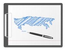 剪贴板俄罗斯地图 库存图片