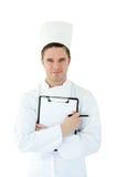 剪贴板厨师藏品年轻人 免版税库存照片