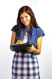 剪贴板女孩微笑 免版税图库摄影