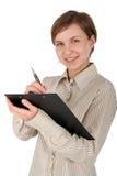 剪贴板女性笔学员 免版税库存照片