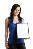 剪贴板空的妇女年轻人 免版税库存图片