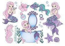 剪贴美术紫色美人鱼颜色传染媒介例证不可思议的美丽的图片油漆海集合Scrapbooking 库存例证