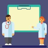 剪贴板平的象有医生和护士的移动计算机的 库存照片