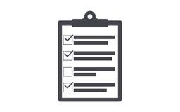 剪贴板象清单剪贴板剪影 简单的圈子象 免版税库存照片