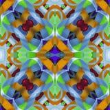 剪贴薄的丝绸五颜六色的丝带背景, 与镜象反射的拼贴画 无缝的模式 免版税库存图片