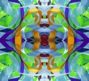 剪贴薄的丝绸五颜六色的丝带背景, 与镜象反射的拼贴画 无缝的模式 免版税库存照片