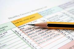 副食品健康列表 免版税库存照片