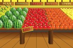 副食品商店产物走道 免版税库存照片