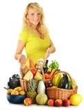副食品查出白人妇女年轻人 免版税图库摄影
