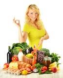 副食品查出白人妇女年轻人 库存图片