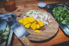 割断的南瓜和蘑菇 免版税库存图片