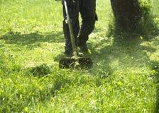 割绿色野草领域的人使用灌木清除机刈草机或电动工具串草坪整理者 免版税库存图片