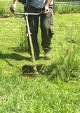 割绿色野草领域的人使用灌木清除机刈草机或电动工具串草坪整理者 库存照片