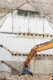 水力压碎器挖掘机机器细节 库存图片