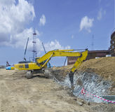 水力压碎器挖掘机机器 库存图片