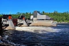 水力发电厂在Solleftea,瑞典 库存照片