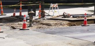 水力土compacter在建筑区域 库存图片