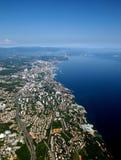 力耶卡和亚得里亚海,克罗地亚俯视图  库存图片