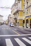 力耶卡,克罗地亚- 3月02 :在狂欢节队伍期间的大街在力耶卡, 3月的克罗地亚 免版税库存图片