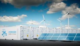 力量供气与新鲜的晴朗的天空的概念 氢能stora 库存图片