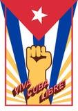 力量的拳头在旗子背景 维瓦古巴libre!万岁自由古巴!西班牙语言 葡萄酒样式海报 库存例证