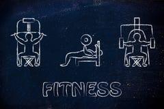 力量训练和举重例证,使用健身房的人 免版税库存图片