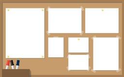 办公室与白皮书,黄色别针,笔的黄柏板 传染媒介il 皇族释放例证