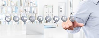 办公室企业工作概念,手触摸屏象,网banne 库存图片