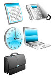 办公室企业日历telefon手表膝上型计算机袋子 图库摄影